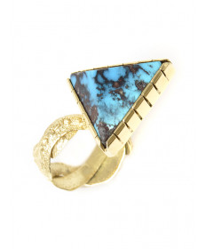 18K Bisbee turquoise ring by Samuel LaFountain (Chippewa/Navajo)