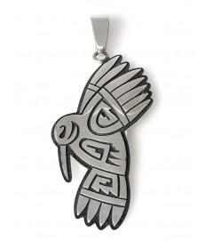 Sterling silver hummingbird pendant by Ruben Saufkie (Hopi)
