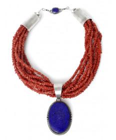 10-strand coral & lapis necklace by Dio Luna (Navajo)