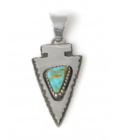Sterling silver & turquoise arrowhead pendant by Marie Jackson (Navajo)