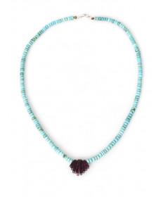 Turquoise & shell necklace by Lita Atencio (Santo Domingo)