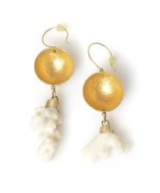 18K vermeil earrings with coral by Heidi Bigknife (Shawnee)