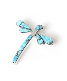 Kingman turquoise dragonfly pin by Na Na Ping (Yaqui)
