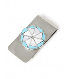 Turquoise & shell money clip by D. Chavez (Zuni)