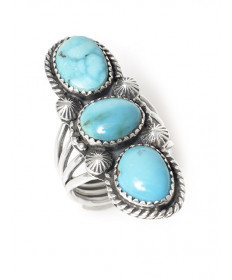 3-turquoise ring by Jeanette Dale (Navajo)