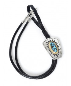 14K/sterling silver/turquoise bolo tie by Dina Huntinghorse (Witchita)