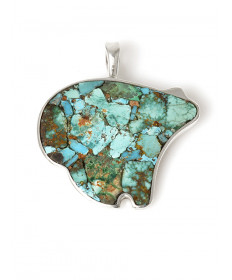 Turquoise bear pendant by Jimmy Poyer (Navajo)