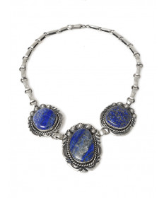 Sterling silver & lapis necklace by Jeanette Dale (Navajo)
