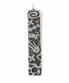 Sterling silver long petroglyph pendant by Kee Yazzie (Navajo)