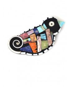 Mulit-stone bird pin/pendant by Mary Tafoya (Santo Domingo)