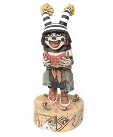"""Great Melon"" clown kachina doll by Kerry David (Hopi)"
