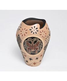 Dragonfly & Flowers Pot by Glendora Fragua (Jemez)