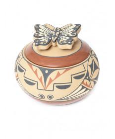 Lidded butterfly pot by Mary Eteeyan (Jemez)