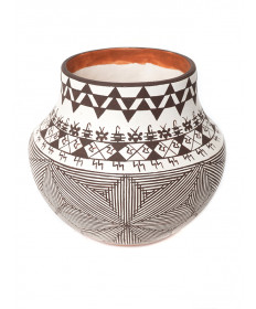 Miniature fine line pottery bowl by Delores Juanico (Acoma)