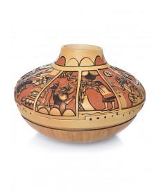 """Ceremony Calendar"" carved pot by Marty & Elvira Naha (Hopi)"
