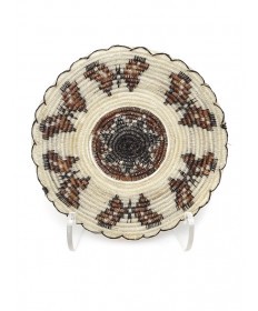 Miniature horsehair basket with butterflies by Elizabeth Juan (Tohono O'odham)