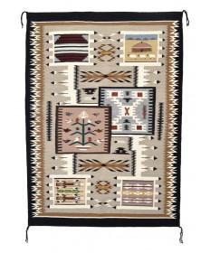 Storm pattern rug with muli-rug designs by Nancy Nez (Navajo)