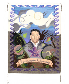 Frida & Diego inspired self-portrait rug by Marlowe Katoney (Navajo)