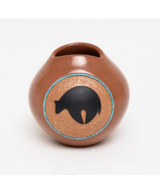 Pottery Bear Bowl with Turquoise Inlay by Dora Tse-Pe (San Ildefonso)