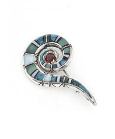 Multi-Stone Pin by Tom Baldwin (Navajo)