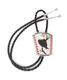 Eagle inlay bolo tie by Dennis & Nancy Edaakie (Zuni)