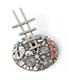 Sterling silver petroglyph seed pot with ladder by Alex Sanchez (Navajo)