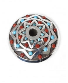 Sterling silver seed pot with turquoise & coral by Mark Calladitto (Navajo)