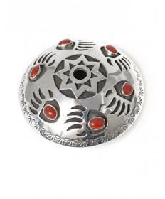 Sterling silver & coral bear paw seed pot by Mark Calladitto (Navajo)