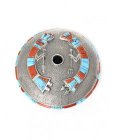 Sterling silver seed pot with turquoise & coral by Lester James (Navajo)