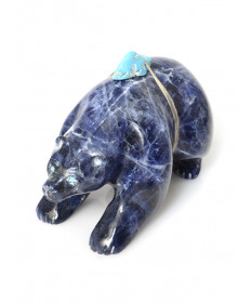 Sodalite bear fetish carving by Jeff Shetima (Zuni)