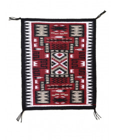 Miniature Storm pattern rug by Matilda Yazzie (Navajo)
